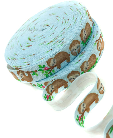 pale blue sleepy sloth sloths fold over elastic ribbons binding ribbon kawaii