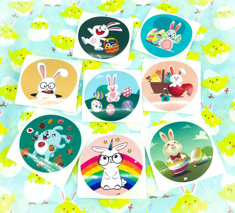 easter sticker round 38mm large stickers cute bunny bunnies rabbit rabbits unicorn eggs egg pink turquoise kawaii cute uk stationery packaging seals