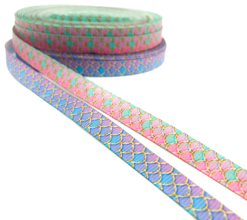 narrow mermaid scale scales 10mm wide ribbon grosgrain ribbons scales mermaids pink blue purple green turquoise uk craft supplies