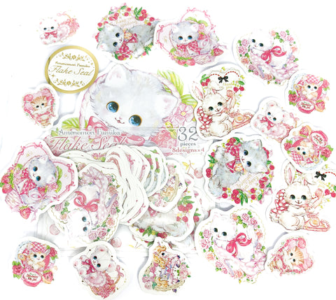 gold foil cat kitten sticker flakes pack 32 glossy stickers animals pink rabbits flake