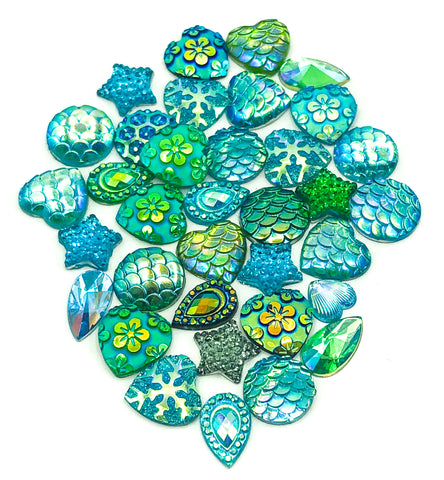 turquoise green and blue sparkly fb flat back bundle acrylic flatback craft supplies uk glittery