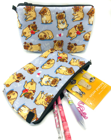 I love Pugs dog dogs pugs roomy pencil case cosmetic bag bags kawaii