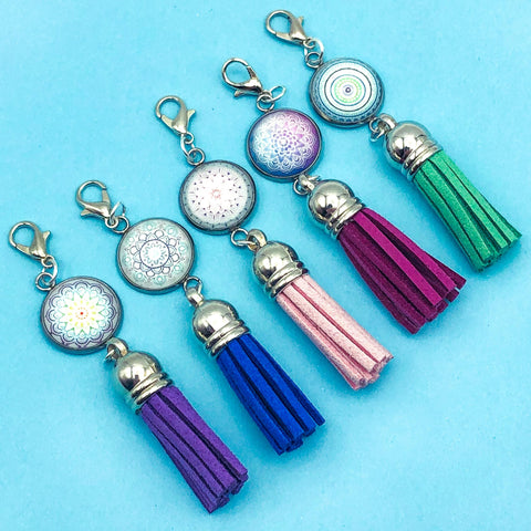 mandala pattern glass cabochon planner clip clips charms uk cute gifts tassel accessories