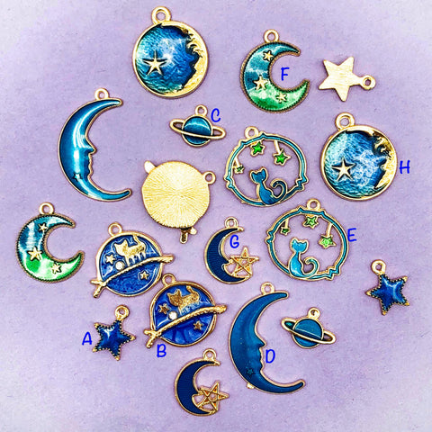 galaxy enamel enamelled cat moon star planet stars gold tone charms cats cute uk craft supplies blue green space