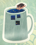 hedgehog at night stars cute teacup postcard post card cards uk kawaii stationery store pretty animal animals