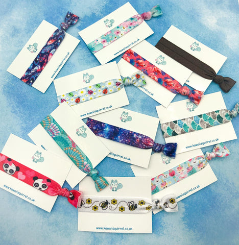 hair ties elastic bow bows elastics girls girl cute kawaii accessory gift uk handmade pretty present single pack