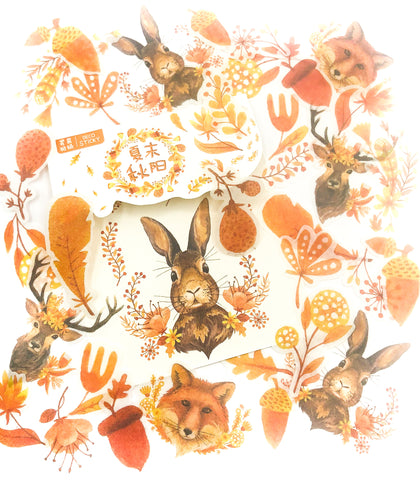autumn animals 40 sticker flakes matte fox deer and rabbit stickers pack journal