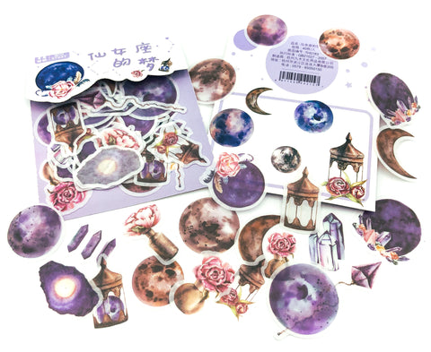 translucent sticker flakes pack of 40 stickers magic moon magical gems gemstone space purple uk cute stationery