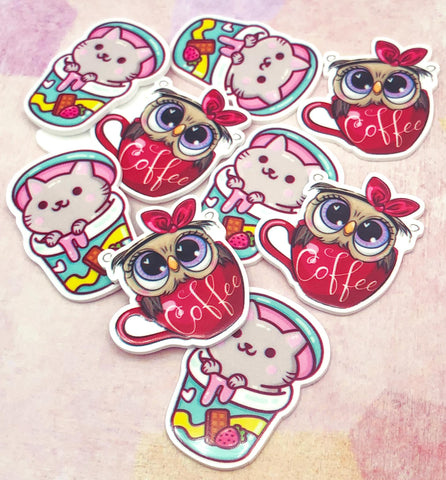 owl coffee mug cup kitty drinking drink cute kawaii planar fb flatback flat back embellishment resin uk craft supplies owls