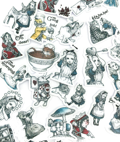 alice in wonderland 40 sticker flake flakes pack planner stickers