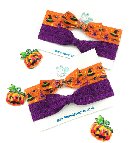 handmade hair elastic tie ties bow bows child's accessories halloween glitter purple orange witch cute kawaii uk gift gifts elastics