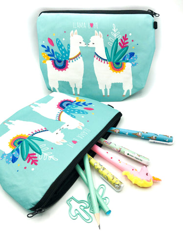 llama love turquoise cosmetic bag pencil case llamas alpacas big roomy make up pouch fabric bags cases cute kawaii uk gift gift kissing llamas