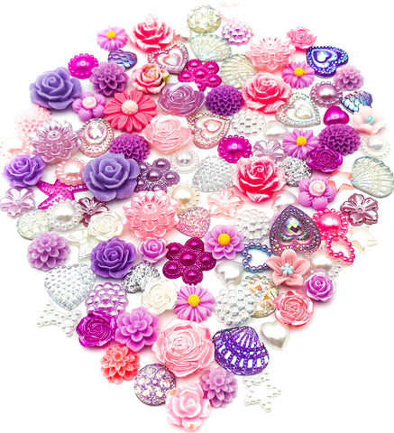 pink lilac silver and white sparkly pearl glitter fb fbs flatback flat backs bundle uk kawaii cute craft supplies