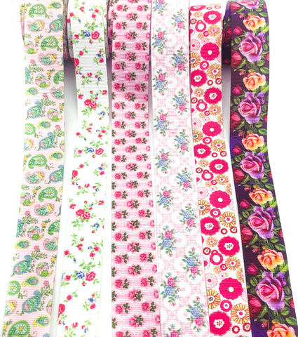 floral grosgrain ribbon 22mm 25mm wide ribbons uk craft supplies rose roses paisley