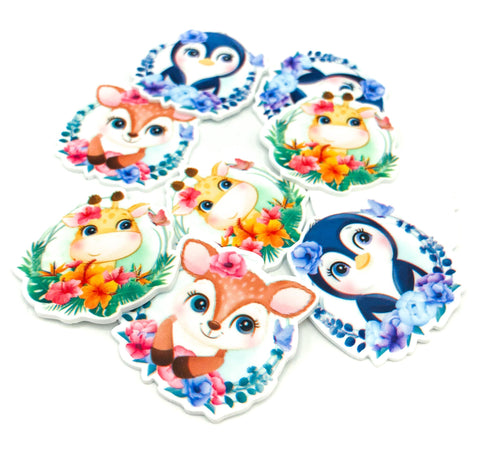 wreath animal cute acrylic planar fb flat back resins resin penguin deer giraffe round floral uk craft supplies flatback