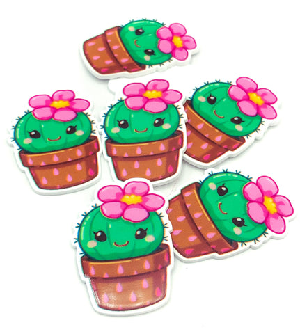 pink flowering cacti cactus acrylic fb flat back flatback resin resins embellishment pot plant uk kawaii craft supplies smiling happy fbs