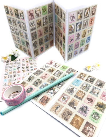 alice in wonderland 80 stamp stickers pack mini sticker vintage style