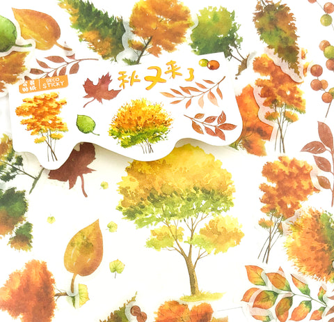 autumn leaves and trees translucent tracing paper sticker flakes 40 pack stickers