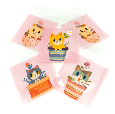 flower pot cellophane cat bag bags treat packing packaging cute kawaii kitty in pot plant uk cats pink pale sweet plastic