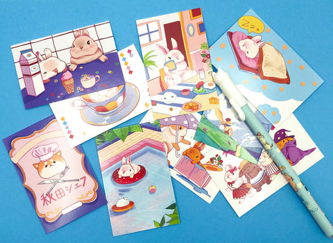 rabbit bunny mini lomo card cards bundle bundles set cute kawaii animal animals mini postcards uk stationery