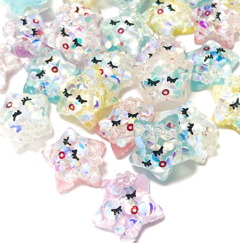 glitter resin sleepy star flat back fb stars glittery kawaii flatback