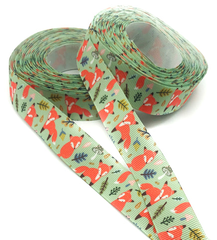 fox foxes on green woodland 22mm grosgrain ribbon one yard ribbons