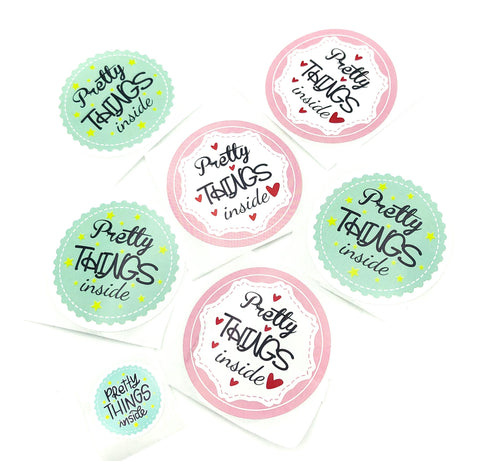 pretty things inside large larger 50mm round stickers packaging seals pink turquoise blue uk packing supplies stationery sticker