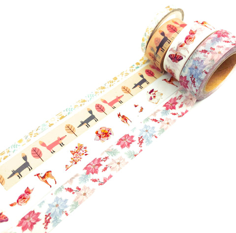 woodland washi tape tapes bundle cute deer fox foxes leaves autumn wood woods uk stationery supplies