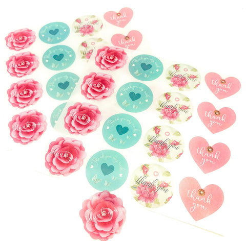 large rose floral flowers heart hearts thank you stickers sheet packaging supplies uk pink turquoise thankyou sticker big roses pink