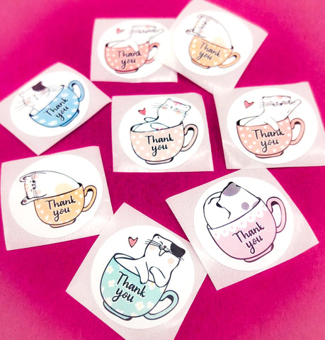 cute cat cats teacup tea cup cups thank you thankyou sticker stickers 25mm round packing packaging supplies kawaii uk kitty