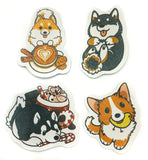 huskies and corgis dog sticker flakes pack of 21