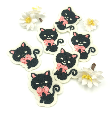 black cat small iron on applique patch 39mm cats
