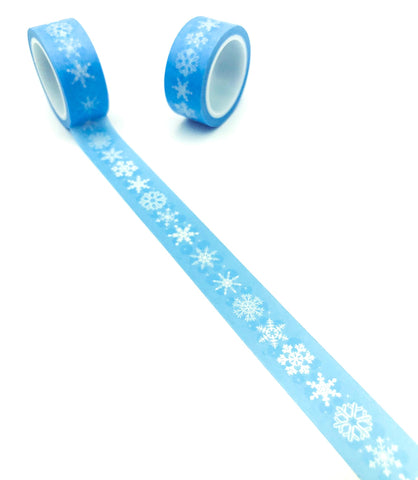 light blue and white snowflake snow flake snowflakes washi tape 5m tapes uk cute craft supplies festive christmas