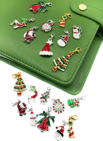 christmas planner enamel metal charm journal festive charms clip on