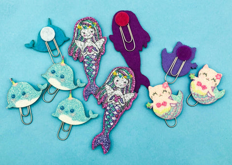 planner clip glitter felt clips planning supplies narwhal purrmaid purmaid cat mermaid cats narwhals uk