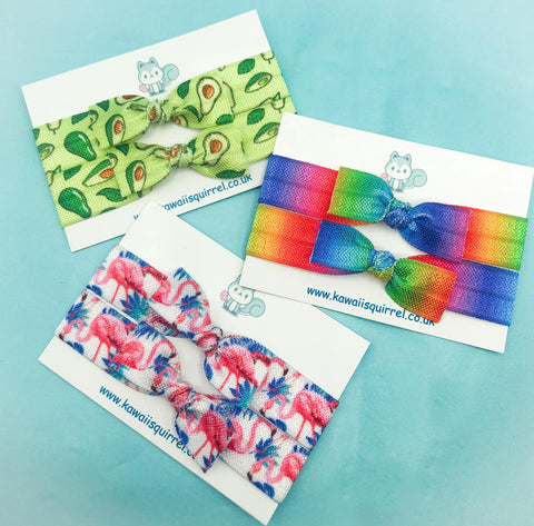 handmade hand made hair tie ties duo pair pack set uk cute kawaii gift gifts elastic elastics bow bows kids accessories accessory