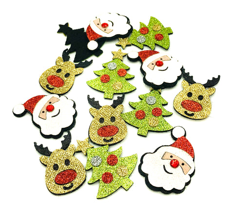 christmas glitter felt patch applique patches tree santa claus father rudolph reindeer green gold red appliques uk craft supplies festive