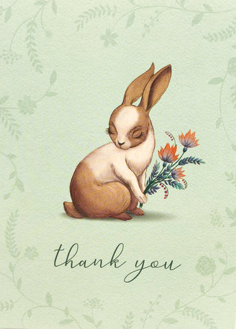 bunny rabbit thank you card blank inside cute rabbits vintage retro cards uk stationery
