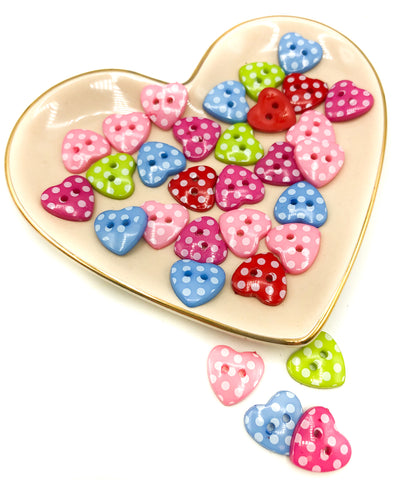 resin acrylic heart polka dot 15mm buttons hearts button