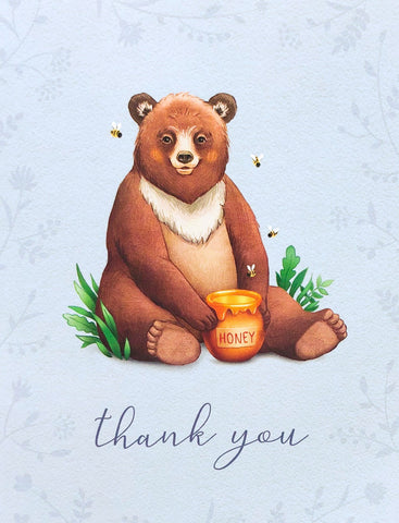 brown bear with honey pot vintage retro greetings card thank you cards uk stationery