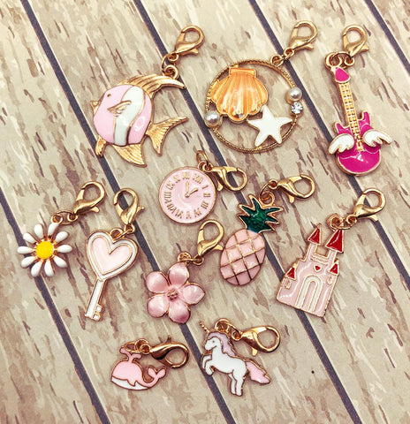 pink and white enamel enamelled planner clip clips charm charms stitch markers gold tone metal uk cute kawaii planning accessories gifts flower unicorn whale fish