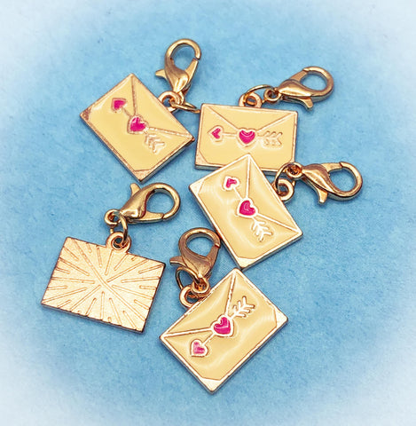happy post love letter envelope cute stitch marker kawaii charm planner clip clips charms hearts gold tone metal uk gift gifts