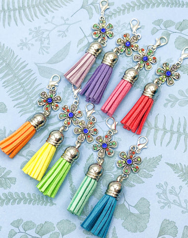 silver tone flower rhinestone tassel planner clip clips charm charms planning accessories uk cute kawaii flowers tassels