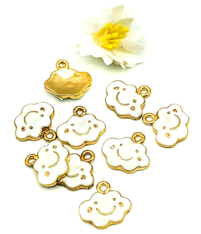 small 13mm gold happy cloud white enamel charm charms clouds