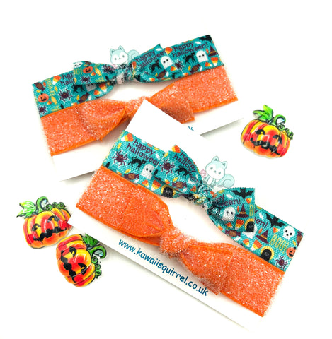 handmade hair elastic tie ties bow bows child's accessories halloween glitter turquoise green blue orange happy cute kawaii uk gift gifts