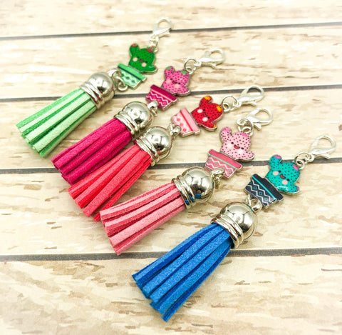 cute kawaii cactus cacti planner charm clip clips charms tassel tassels uk accessories planning supplies enamel silver tone metal