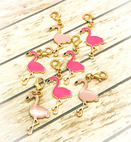 pink flamingo flamingos planner charm charms clip clips stitch marker gold tone metal cute kawaii uk planning supplies