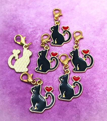 enamel black cat planner charm or stitch marker markers clip clips charms gold tone metal enamel planning uk cute kawaii gifts red heart