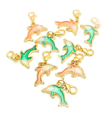 dolphin dolphins ocean theme planner charm clip charms clips accessories teal green pink gold tone metal stitch markers uk gift gifts planning