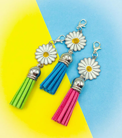 daisy silver tone metal enamel planner clip charm charms clips accessories white flower flowers uk cute kawaii tassels tassel daisies